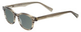 Profile View of Eyebobs Bitty Witty Designer Polarized Sunglasses with Custom Cut Smoke Grey Lenses in Amber Brown Crystal Marble Ladies Round Full Rim Acetate 42 mm