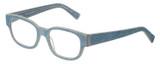 Profile View of Eyebobs Bossy Unisex Square Full Rim Designer Reading Glasses in Blue Jean 51 mm