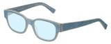 Profile View of Eyebobs Bossy Designer Blue Light Blocking Eyeglasses in Blue Jean Unisex Square Full Rim Acetate 51 mm