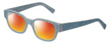 Profile View of Eyebobs Bossy Designer Polarized Sunglasses with Custom Cut Red Mirror Lenses in Blue Jean Unisex Square Full Rim Acetate 51 mm
