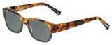Profile View of Eyebobs Bossy Designer Polarized Sunglasses with Custom Cut Smoke Grey Lenses in Tortoise Havana Brown Gold Black Unisex Square Full Rim Acetate 51 mm
