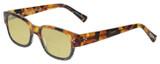 Profile View of Eyebobs Bossy Designer Polarized Reading Sunglasses with Custom Cut Powered Sun Flower Yellow Lenses in Tortoise Havana Brown Gold Black Unisex Square Full Rim Acetate 51 mm