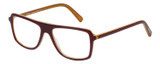Profile View of Eyebobs Buzzed Designer Reading Eye Glasses with Custom Cut Powered Lenses in Burgundy Red Layer Orange Crystal Unisex Square Full Rim Acetate 52 mm
