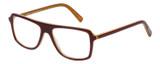 Profile View of Eyebobs Buzzed Designer Progressive Lens Prescription Rx Eyeglasses in Burgundy Red Layer Orange Crystal Unisex Square Full Rim Acetate 52 mm