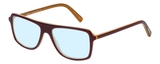 Profile View of Eyebobs Buzzed Designer Blue Light Blocking Eyeglasses in Burgundy Red Layer Orange Crystal Unisex Square Full Rim Acetate 52 mm