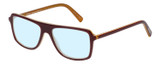 Profile View of Eyebobs Buzzed Designer Progressive Lens Blue Light Blocking Eyeglasses in Burgundy Red Layer Orange Crystal Unisex Square Full Rim Acetate 52 mm