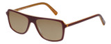 Profile View of Eyebobs Buzzed Designer Polarized Sunglasses with Custom Cut Amber Brown Lenses in Burgundy Red Layer Orange Crystal Unisex Square Full Rim Acetate 52 mm