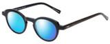 Profile View of Eyebobs Cabaret Designer Polarized Sunglasses with Custom Cut Blue Mirror Lenses in Black Brown Crystal Diamond Ladies Round Full Rim Acetate 40 mm