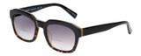 Profile View of Eyebobs Charmed Square Sunglasses Black Gold Tortoise Havana/Grey Gradient 52 mm