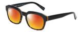Profile View of Eyebobs Charmed Designer Polarized Sunglasses with Custom Cut Red Mirror Lenses in Black Gold Tortoise Havana Unisex Square Full Rim Acetate 52 mm