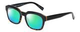 Profile View of Eyebobs Charmed Designer Polarized Reading Sunglasses with Custom Cut Powered Green Mirror Lenses in Black Gold Tortoise Havana Unisex Square Full Rim Acetate 52 mm