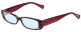 Profile View of Eyebobs Co Conspirator Designer Blue Light Blocking Eyeglasses in Black Red Pink Tortoise Havana Ladies Rectangle Full Rim Acetate 51 mm