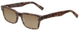 Profile View of Eyebobs Fare N Square Designer Polarized Sunglasses with Custom Cut Amber Brown Lenses in Matte Tortoise Brown Gold Marble Unisex Square Full Rim Acetate 51 mm