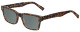 Profile View of Eyebobs Fare N Square Designer Polarized Reading Sunglasses with Custom Cut Powered Smoke Grey Lenses in Matte Tortoise Brown Gold Marble Unisex Square Full Rim Acetate 51 mm
