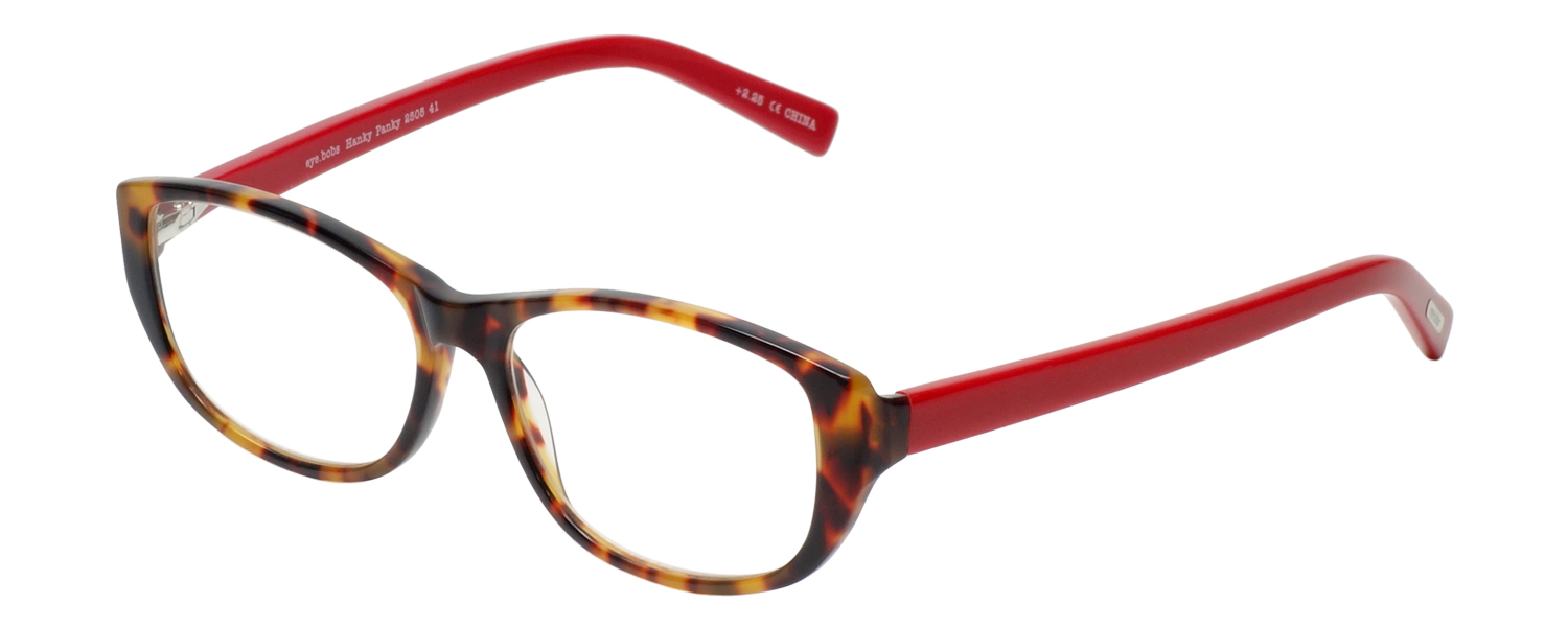 Profile View of Eyebobs Hanky Panky Ladies Cateye Reading Glasses Tortoise Brown Gold Red 52 mm
