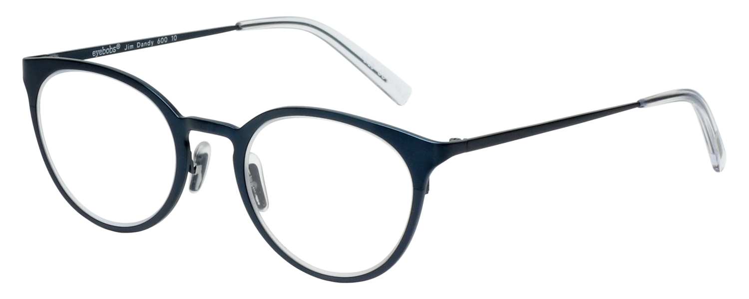 Profile View of Eyebobs Jim Dandy Round Designer Reading Glasses in Satin Navy Blue Crystal 50mm