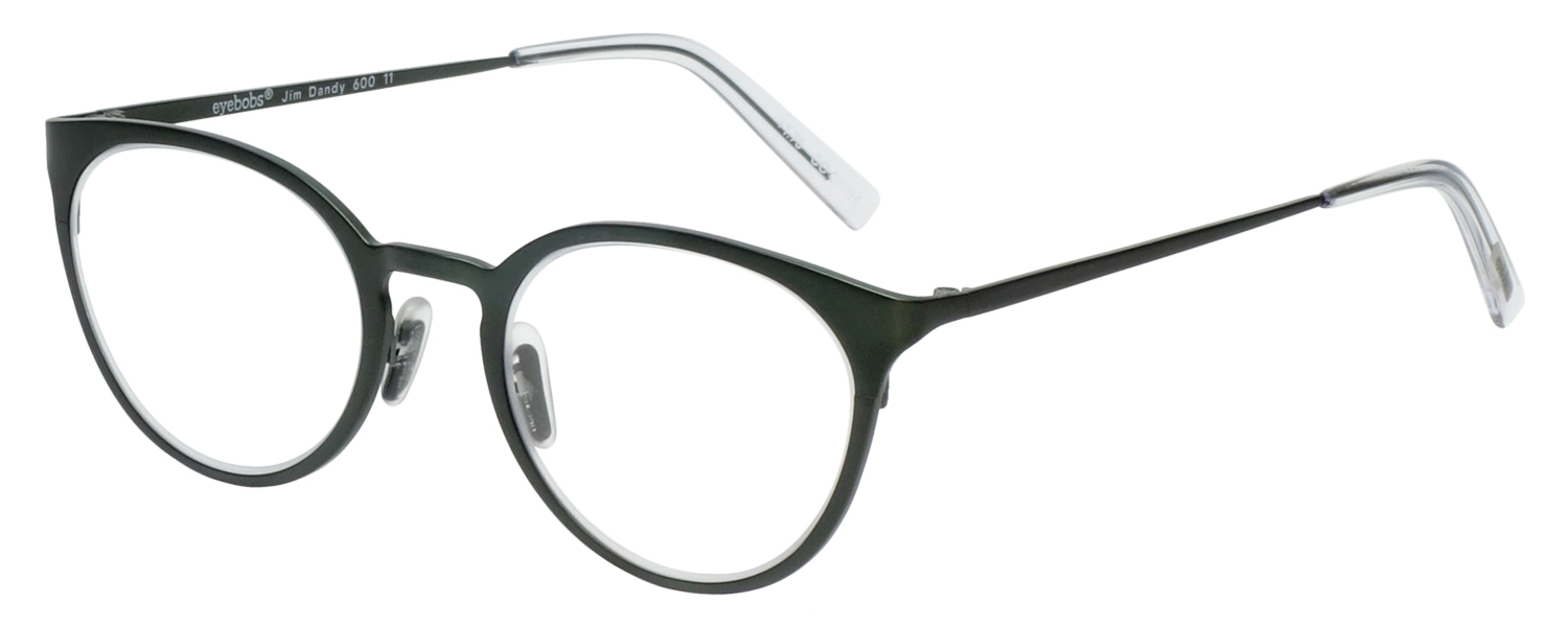 Profile View of Eyebobs Jim Dandy Round Designer Reading Glasses Satin Forest Green Crystal 50mm