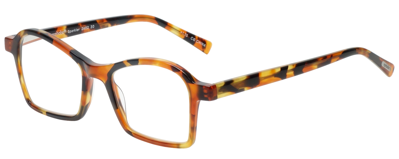 Profile View of Eyebobs Sparkler Women Reading Glasses Light Tort Havana Brown Gold Crystal 49mm