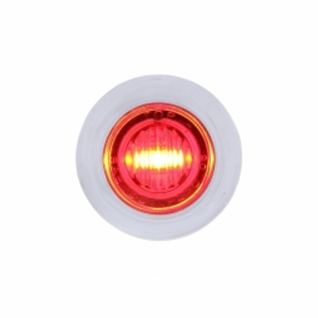 3 LED Dual Function Mini Clearance/Marker Light w/ Bezel - Red LED/Clear Lens