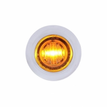 3 LED Dual Function Mini Clearance/Marker Light w/ Bezel - Amber LED/Clear Lens-37969