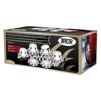 TRUX COMPLETE CHROME ABS PLASTIC POINTED HUB COVER KIT-THUB-C4