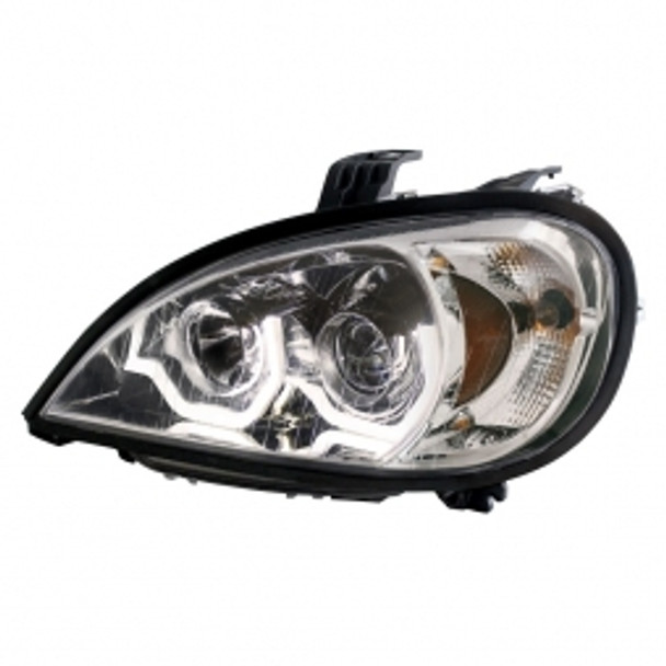 1996 - 2018 Freightliner Columbia Chrome Projection Headlight w/ LED Position Light - Driver