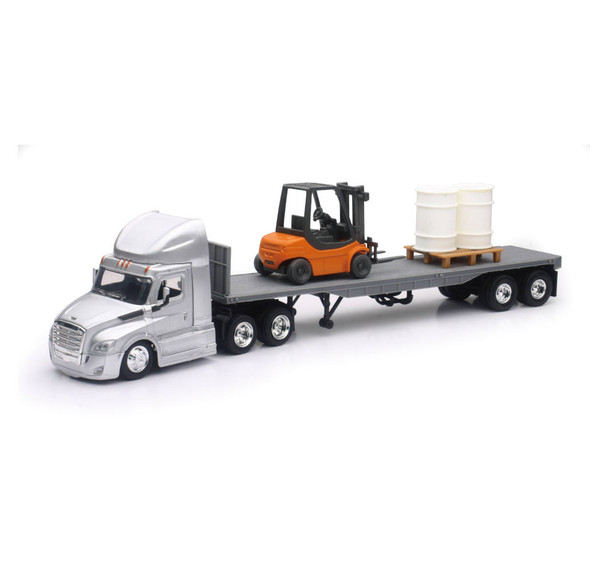 Freightliner Cascadia Flatbed with Forklift and Barrels 1:43 Scale 16073