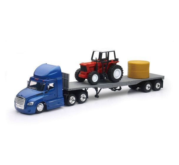 Freightliner Cascadia Flatbed with Farm Tractor 1:43 Scale 16083