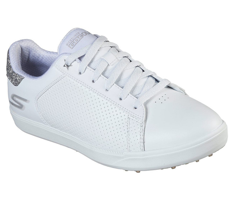 SKECHERS Ladies Go Golf Drive Shimmer Spikeless Waterproof Golf Shoes White