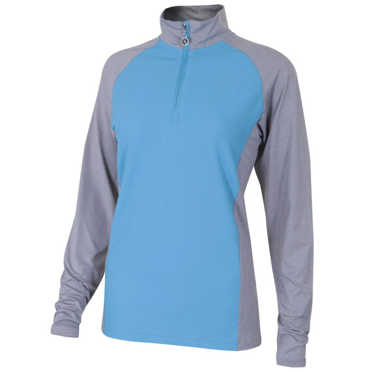 Island Green Ladies Contrast Panel 1/4 Zip Top Layer