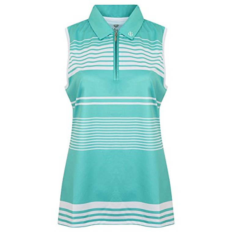 Island Green Breathable Moisture Wicking 1/2 Zip Sleeveless Polo Shirt