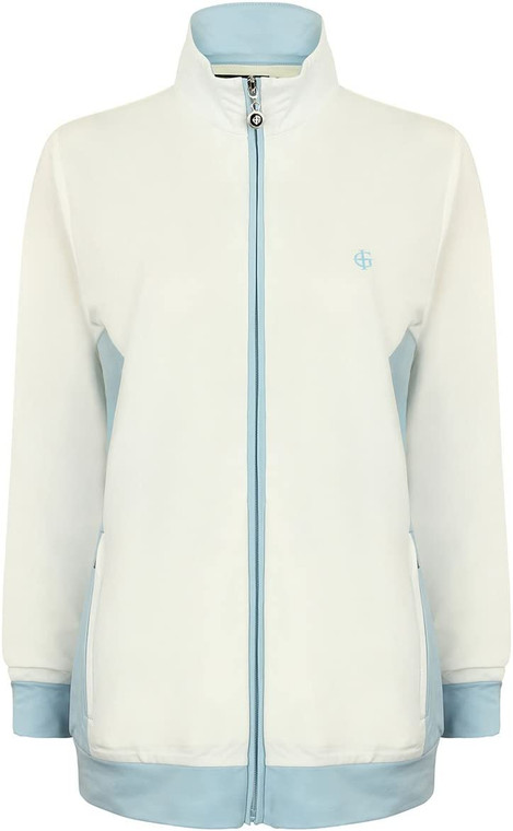 Island Green Golf Womens Breathable Zip Up Contrast Panel Sports Tracksuit Style Top