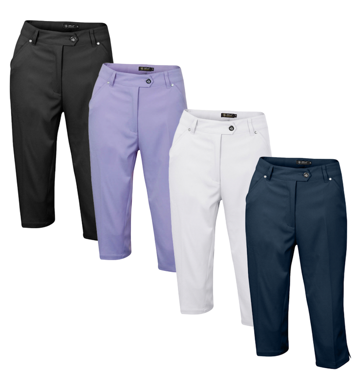 Island Green Womens Metal Tab 2 Pocket Golf Capri Trousers