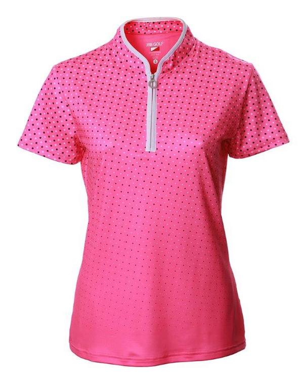 JRB Ladies 1/4 Zip Polo - Pink Spot