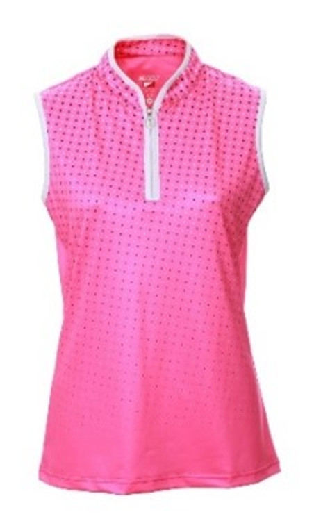 JRB Ladies 1/4 Zip Sleeveless Polo - Pink Spot