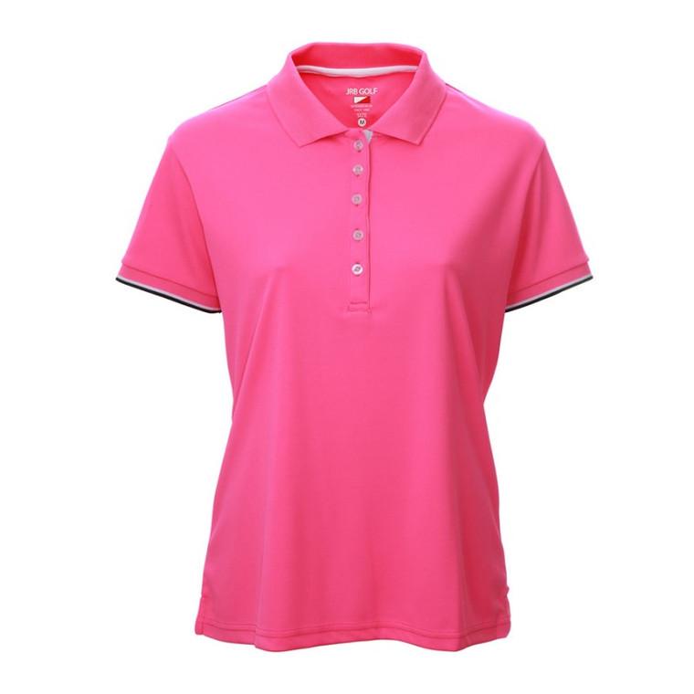 JRB 2021 Ladies Pink Pique Short Sleeve Polo Shirt