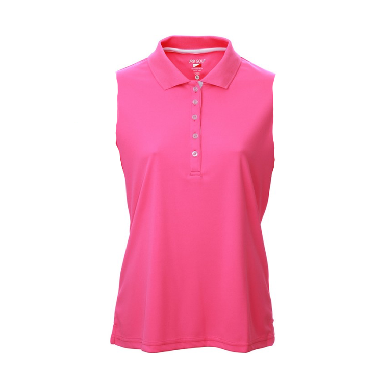 JRB Ladies Pique Sleeveless Polo Shirt Pink
