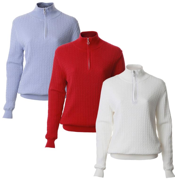 JRB Ladies Golf Winter 1/4 Zip Lined Sweater