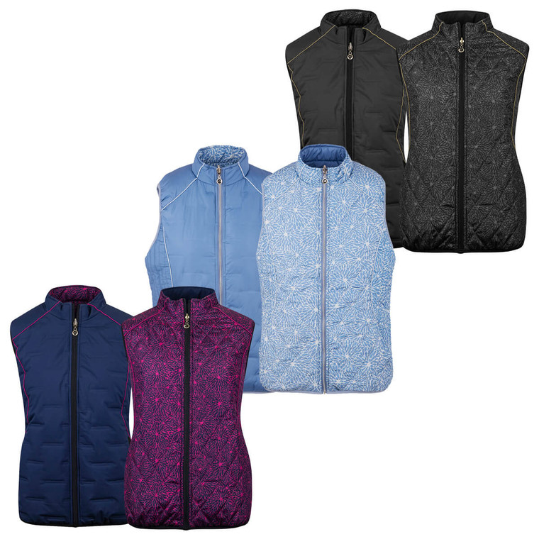 Island Green Womens 2021 Reversible Quilted Thermal Golf Gilet - IGLVST2090