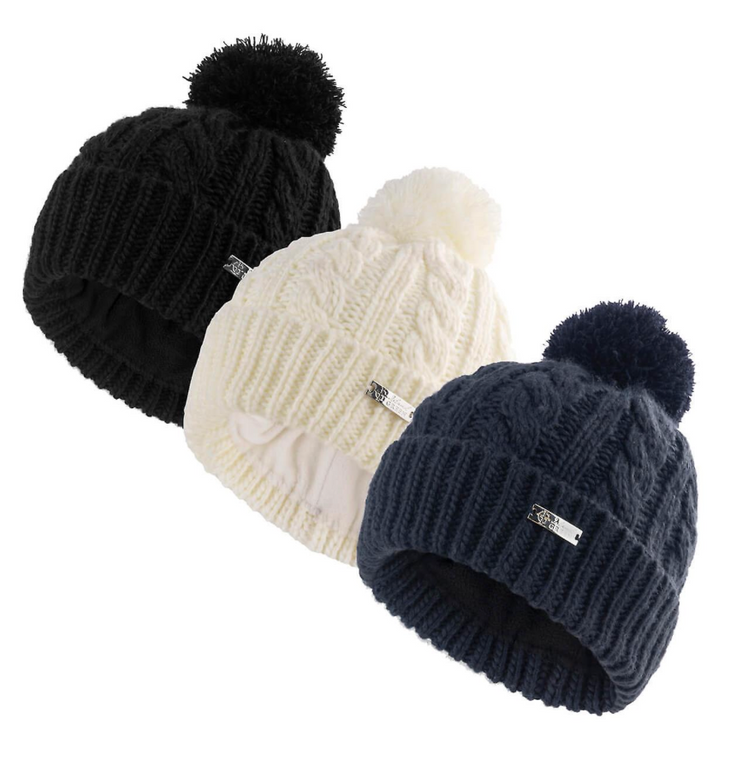 Island Green Ladies 2021 Knitted Fleece Lined Thermal Pom Pom Golf Bobble Hats - IGLHAT2134