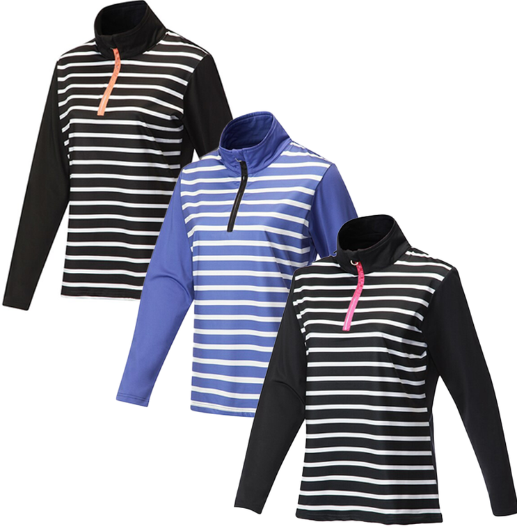 JRB Ladies 1/4 Zipped Mid Layer Golf Top New Season Colours