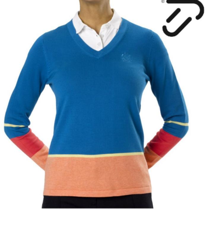 IJP Design Ladies Luxury Golf Sweater Perma Cotton Blue