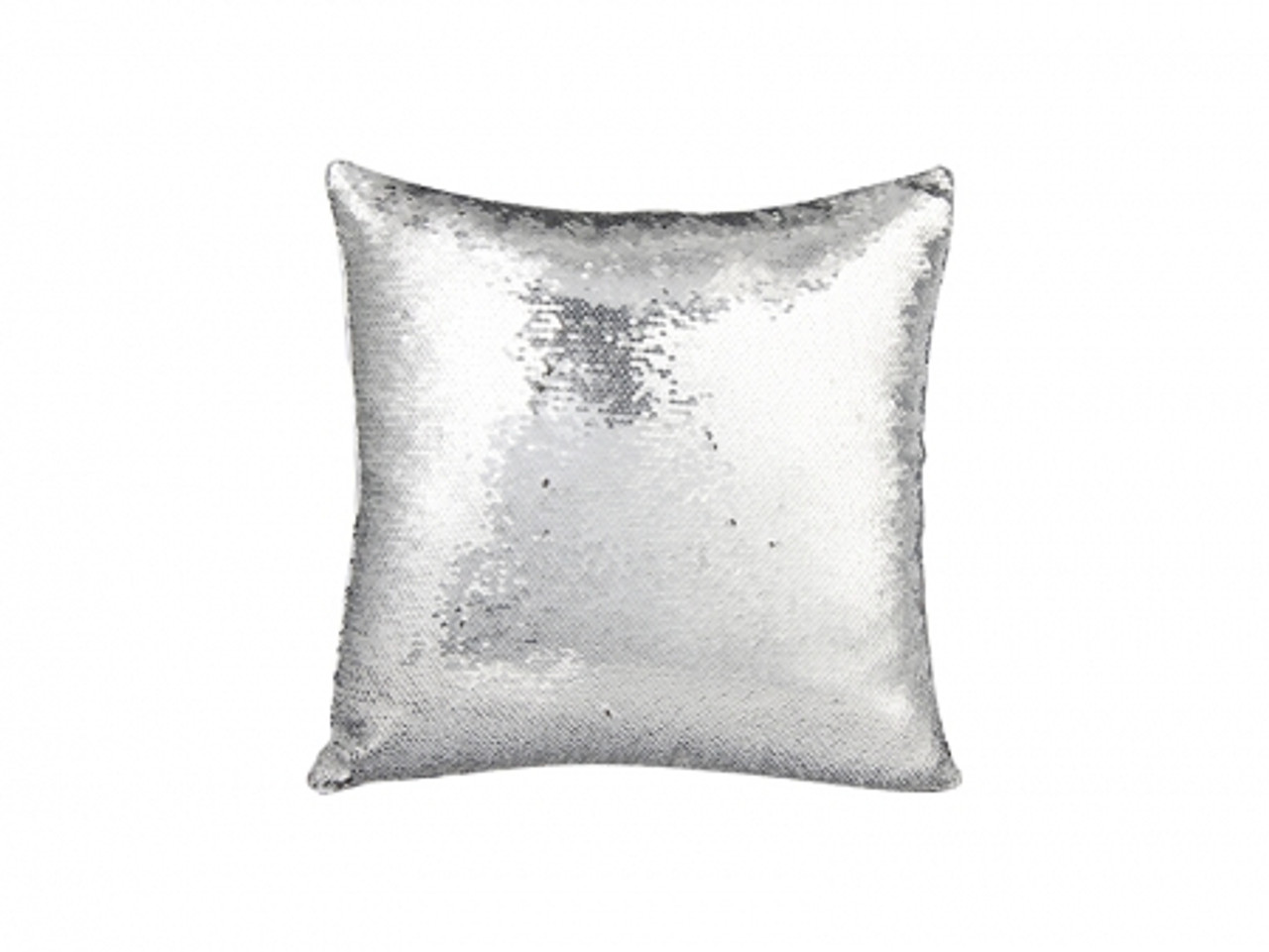 Flip Sequin Pillow Cover Silver With Black (White Back)- PACK OF 10 -  SEQUINS DO NOT SUBLIMATE WELL