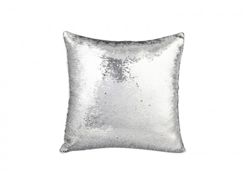 087ce32cd7f Flip Sequin Pillow Cover Silver With Black (White Back)