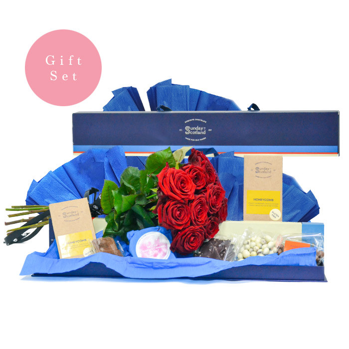 12 Red Roses + Deluxe Chocolate Gift Set