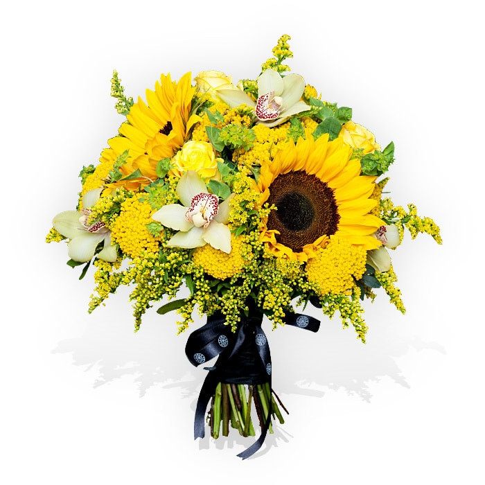 Sunflower bouquet combined with pink Phalaenopsis