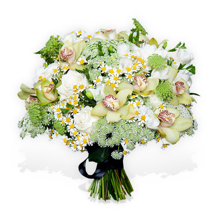 White Rose Bouquet with Daisies