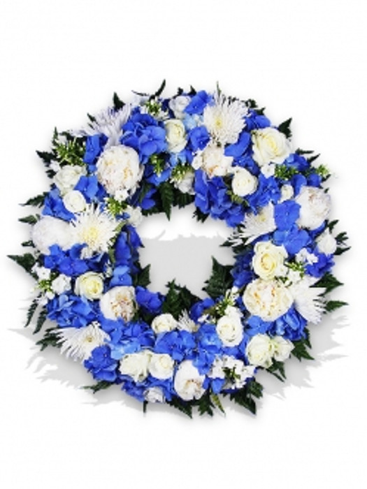 Funeral Wreath With White And Blue Flowers Flower Delivery London