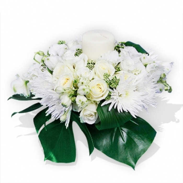 All White Flowers and Candle