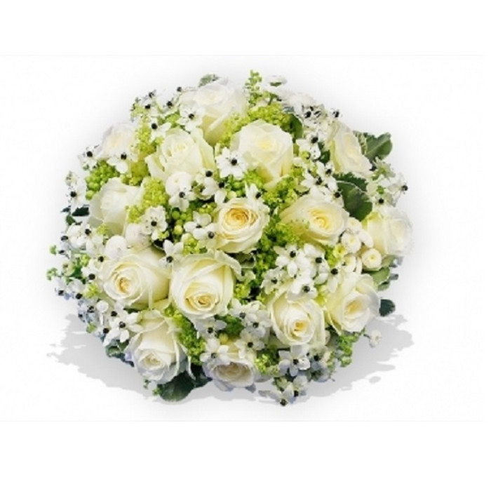 All White Luxury Funeral Posy